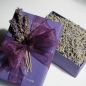 Each Lavender Bead is packaged in a box filled with fragrant organic lavender buds.