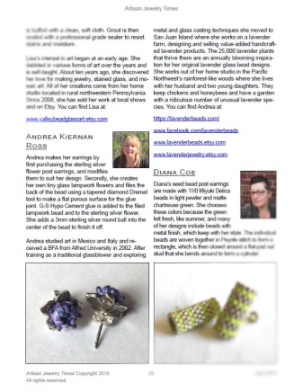 Artisan Jewelry Times featured my Lavender Bud Stud Earrings