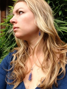 Andrea Wearing Lavender Earrings and a Blooming Lavender Pendant